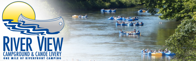 River View Campground & Canoe Livery Logo and customers fgetting ready to float in canoes on the river